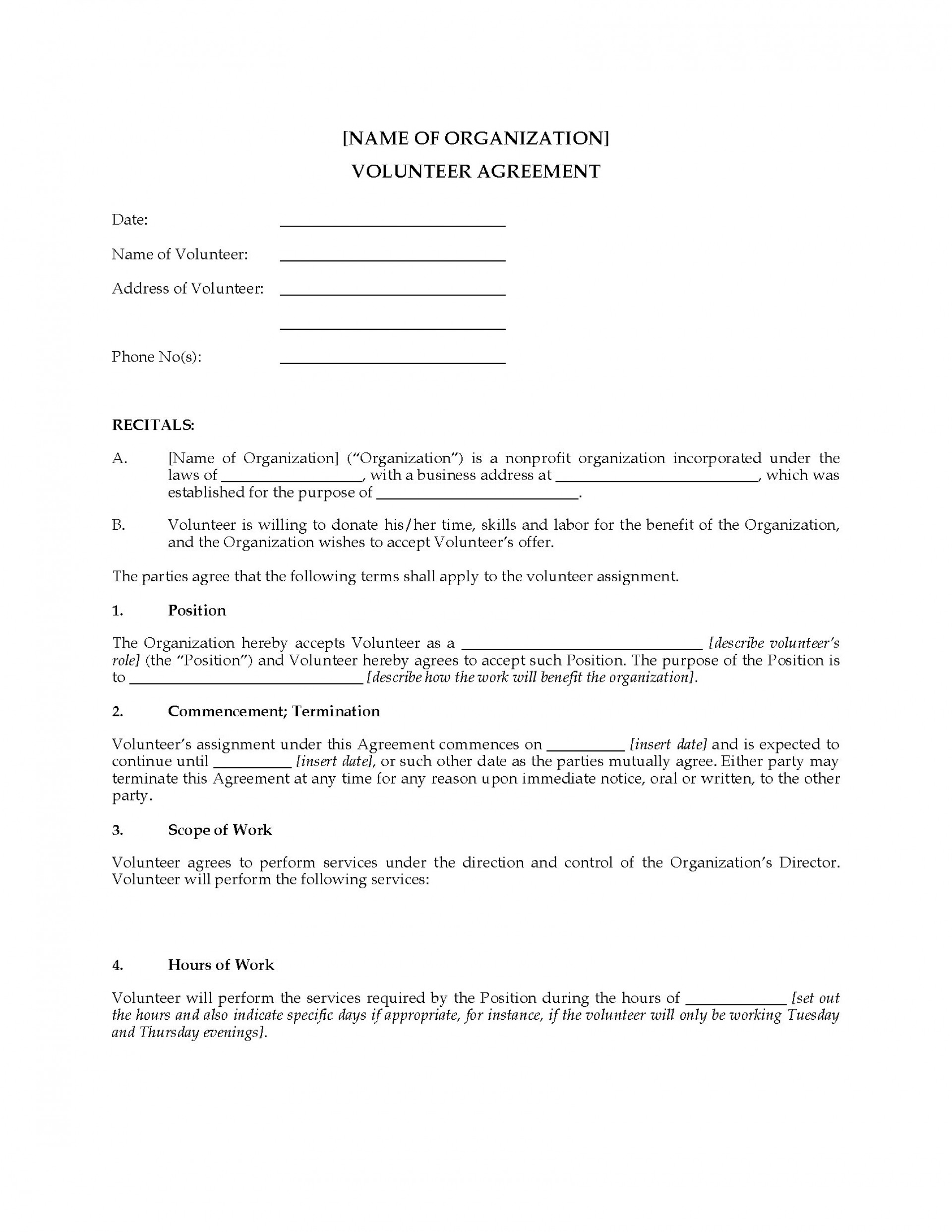 002 Unusual Volunteer Application Template For Nonprofit Example  Sample Form1920