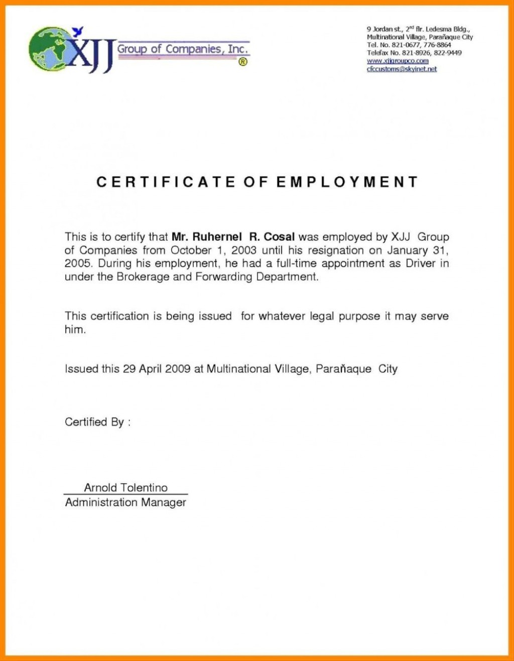 002 Wonderful Certificate Of Employment Template Design  Nz Sample Word Format FreeLarge