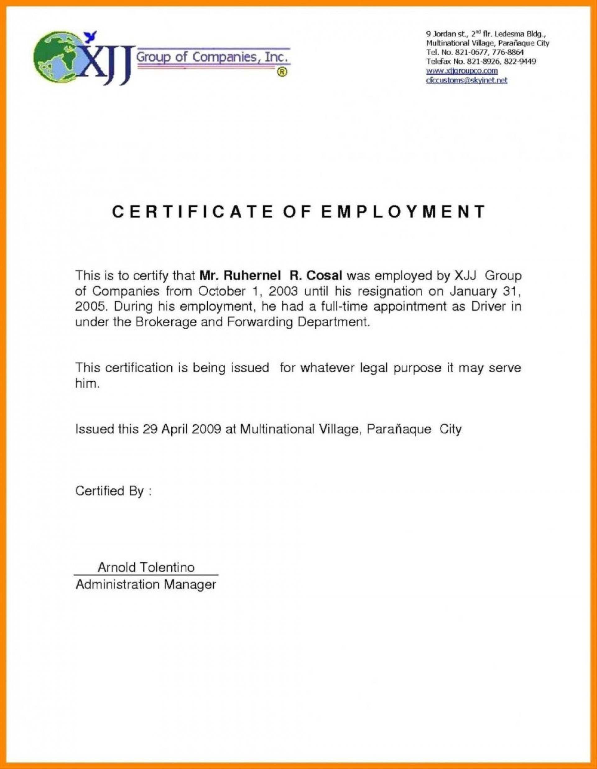 002 Wonderful Certificate Of Employment Template Design  Nz Sample Word Format Free1920