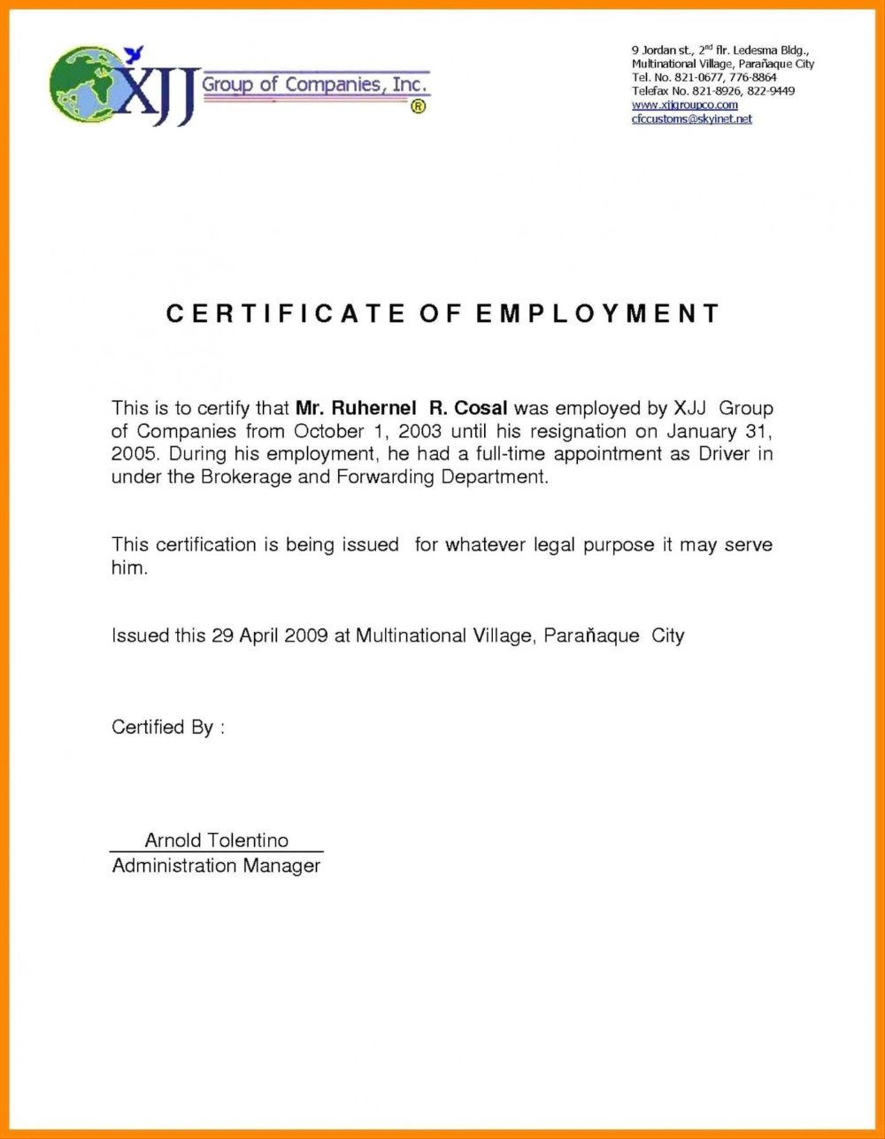 002 Wonderful Certificate Of Employment Template Design  Nz Sample Word Format FreeFull