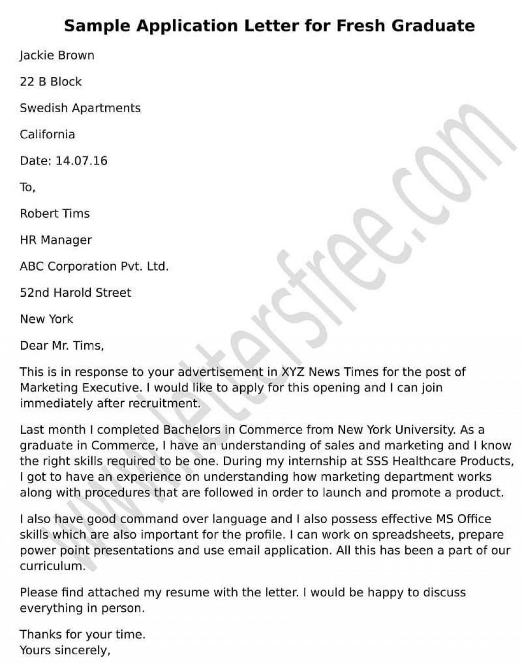 002 Wonderful Cover Letter Sample Template For Fresh Graduate In Marketing High Def Large
