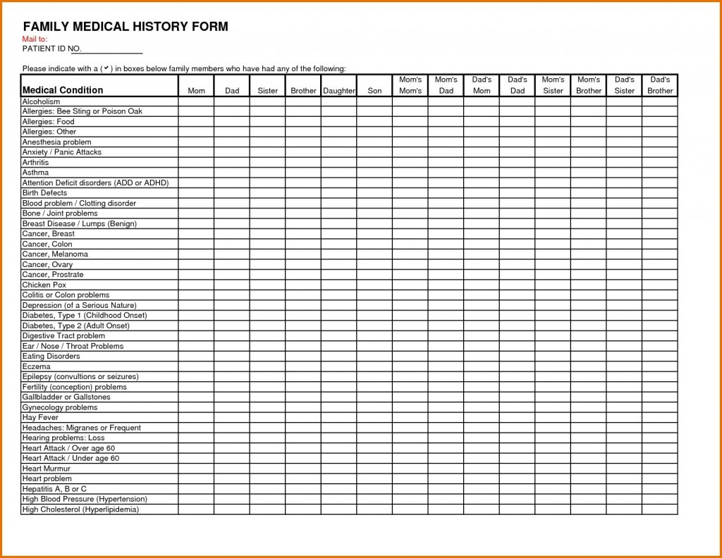 002 Wonderful Family Medical History Template Concept  Questionnaire Free ExcelLarge