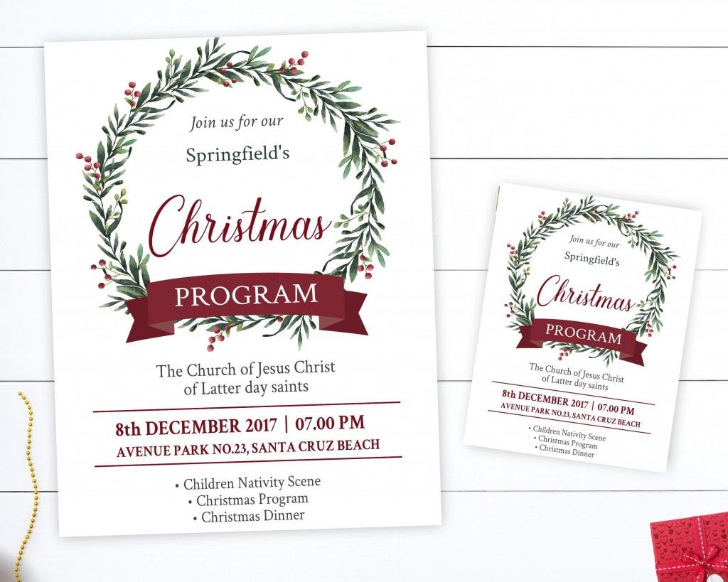 002 Wonderful Free Church Christma Program Template High Resolution Large