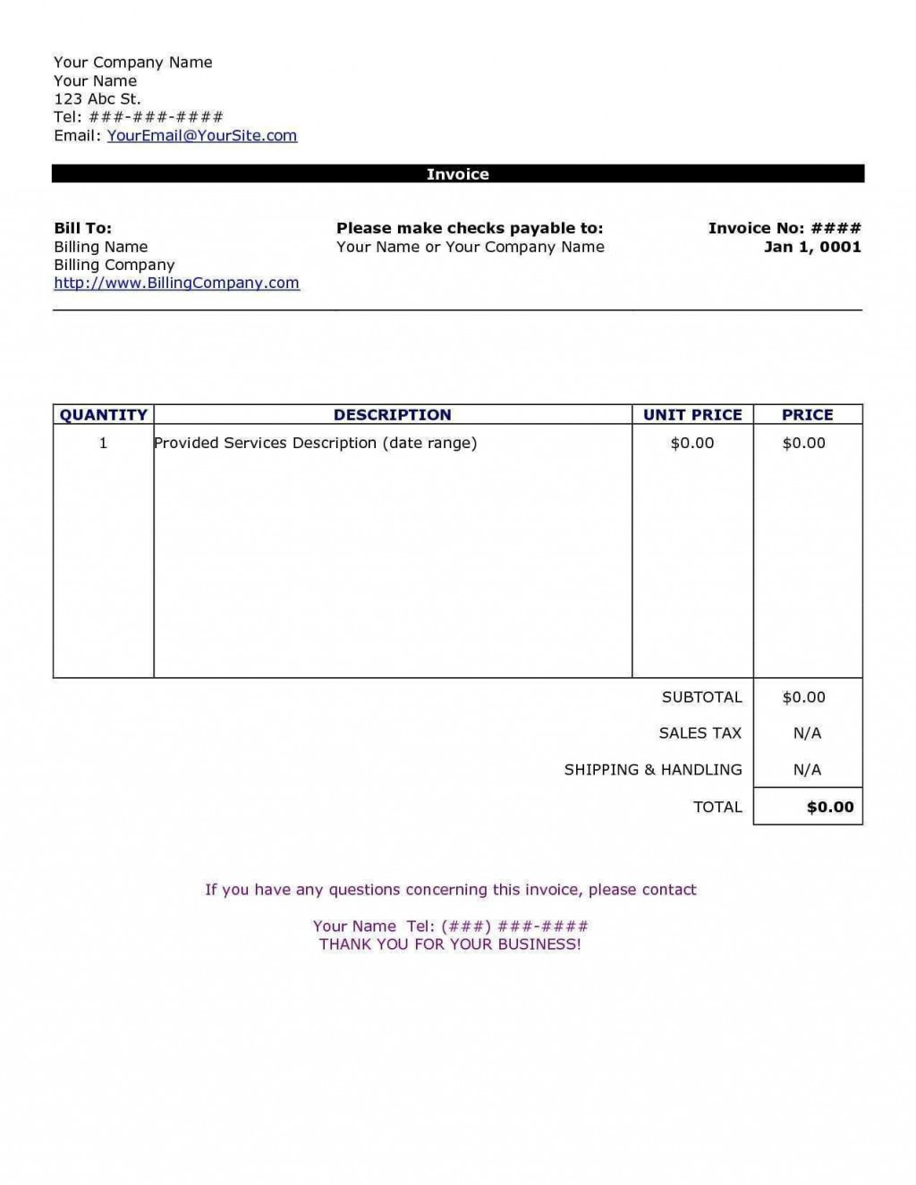 002 Wonderful Invoice Template In Word High Definition  Document Free ProformaLarge