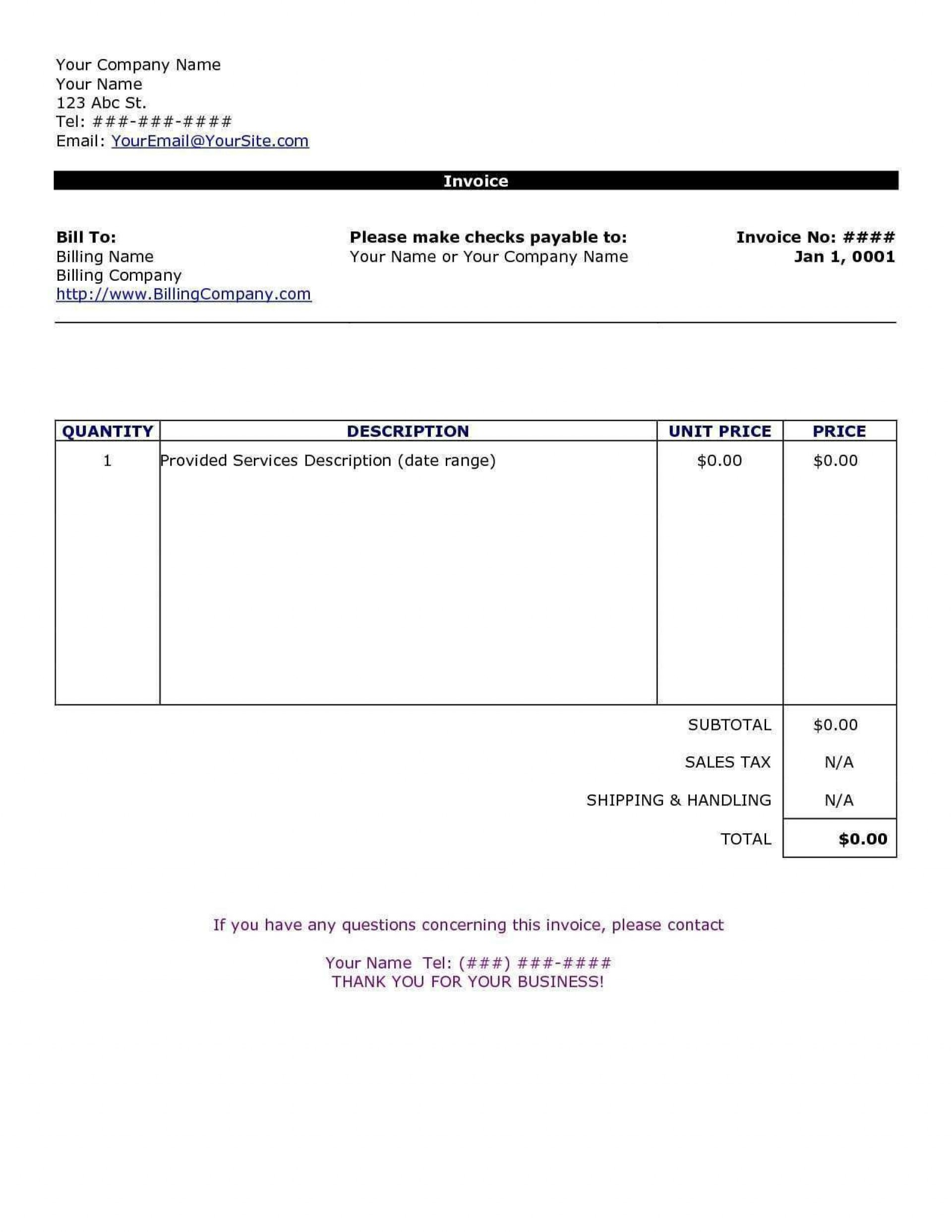 002 Wonderful Invoice Template In Word High Definition  Document Free Proforma1920