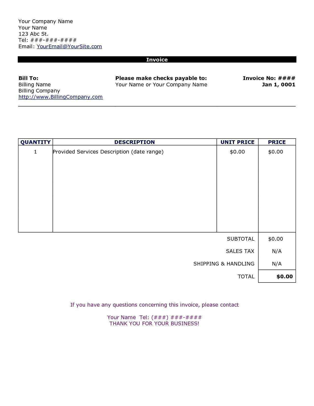 002 Wonderful Invoice Template In Word High Definition  Document Free ProformaFull