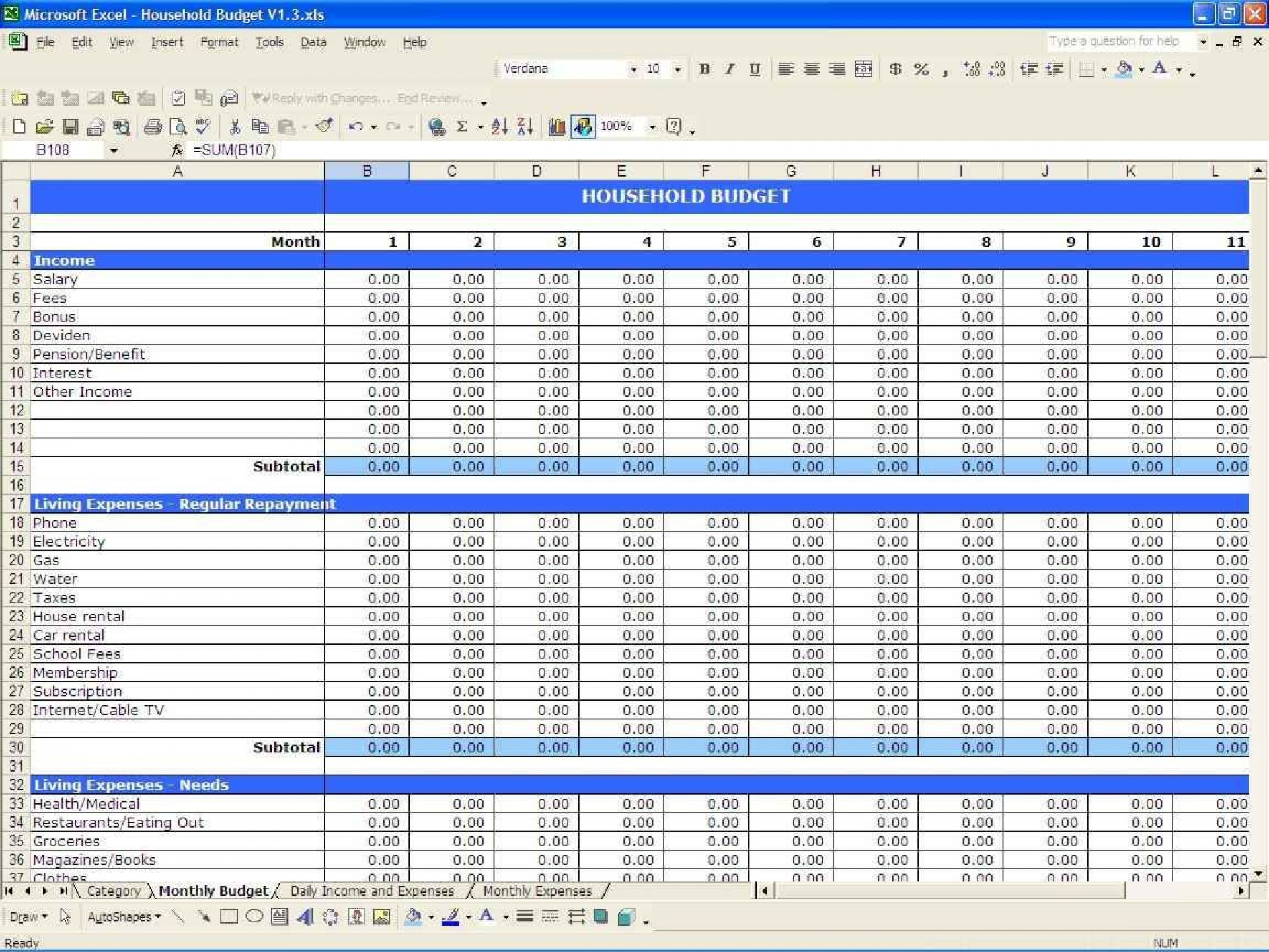 002 Wonderful Monthly Budget Sample Excel Highest Clarity  Template Simple India Personal Free1920