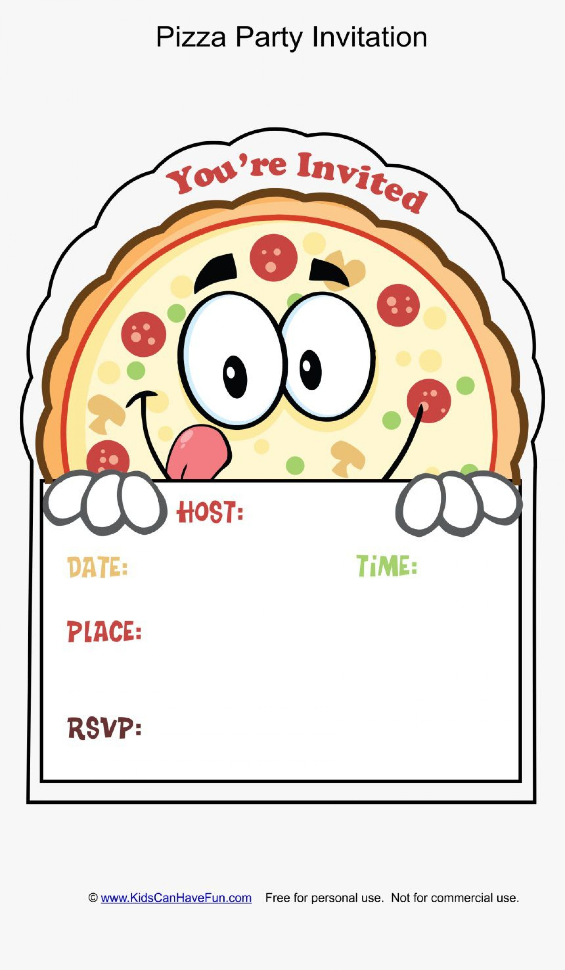 002 Wonderful Pizza Party Invitation Template Free Example  Printable1920