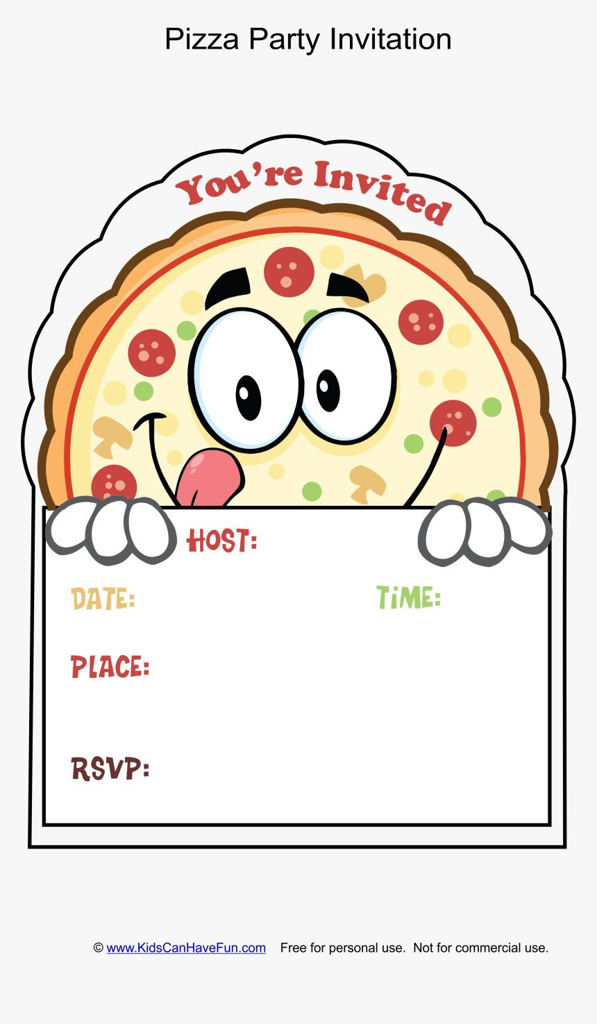 002 Wonderful Pizza Party Invitation Template Free Example  PrintableFull