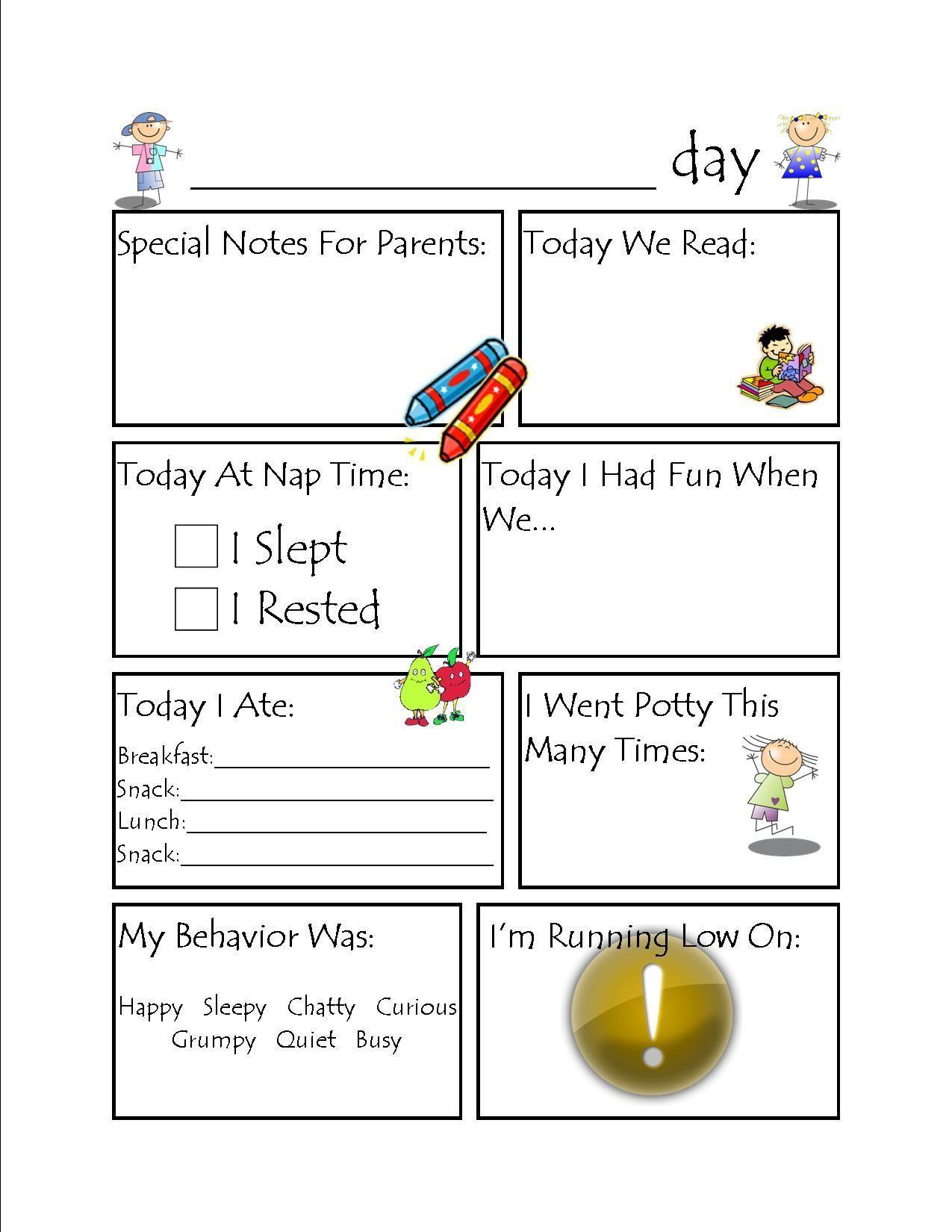 002 Wonderful Preschool Daily Report Template High Def  Form Baby SheetFull