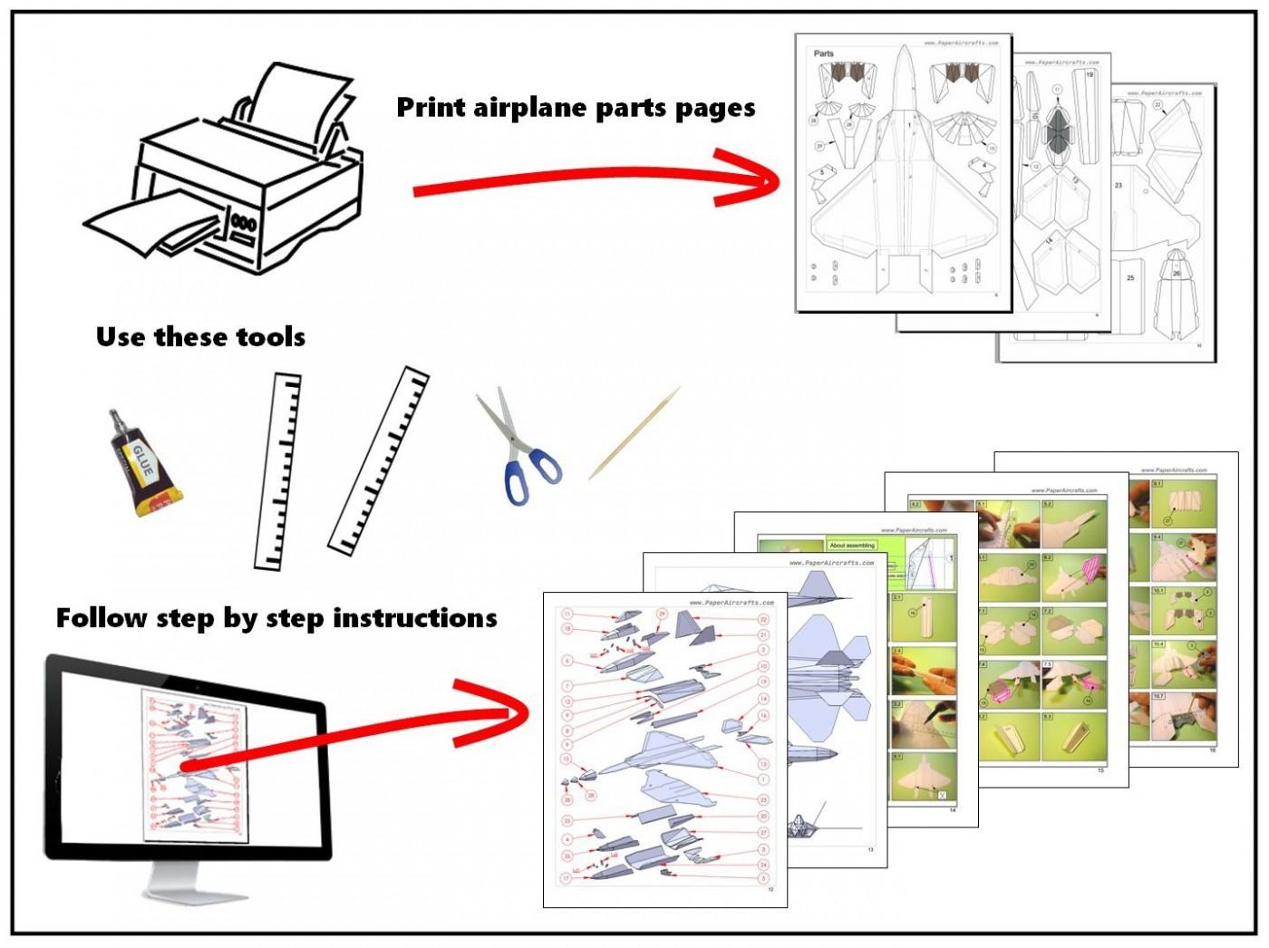 002 Wonderful Printable Paper Plane Plan Inspiration  Free Airplane Template Pdf1400