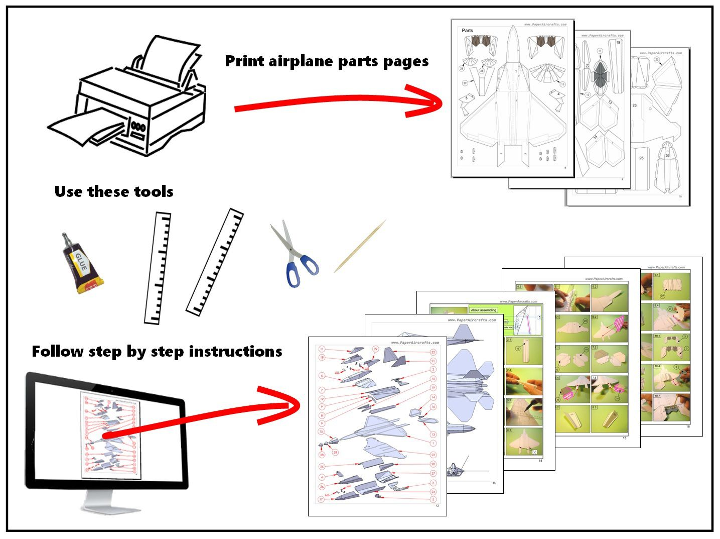 002 Wonderful Printable Paper Plane Plan Inspiration  Plans Airplane Free Design InstructionFull