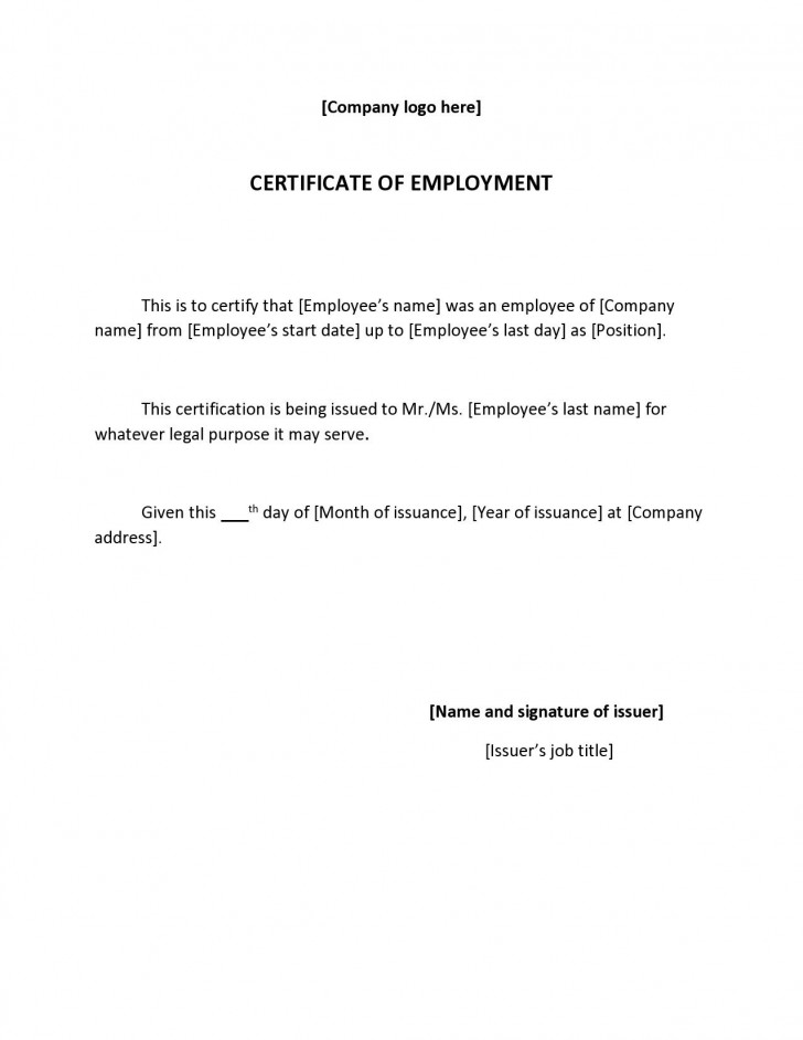 002 Wonderful Proof Of Employment Letter Template Canada Highest Clarity  Confirmation728