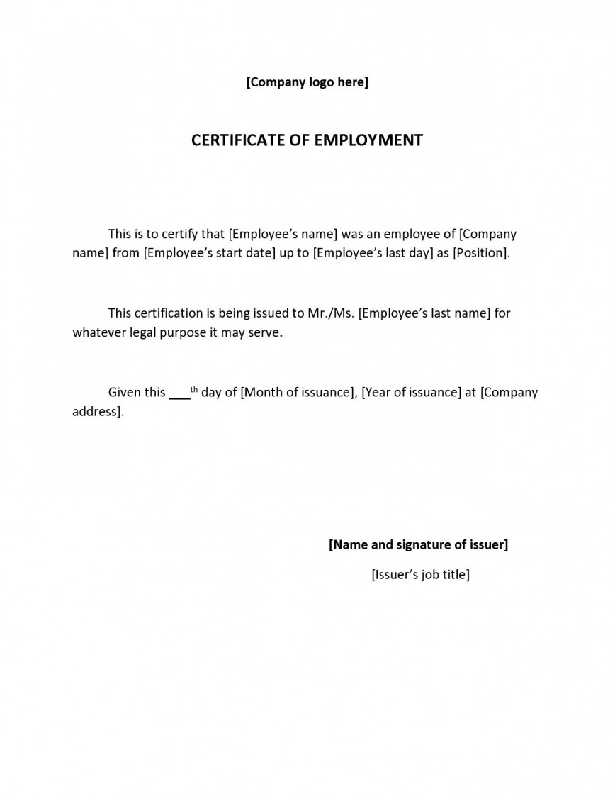 002 Wonderful Proof Of Employment Letter Template Canada Highest Clarity  Confirmation868