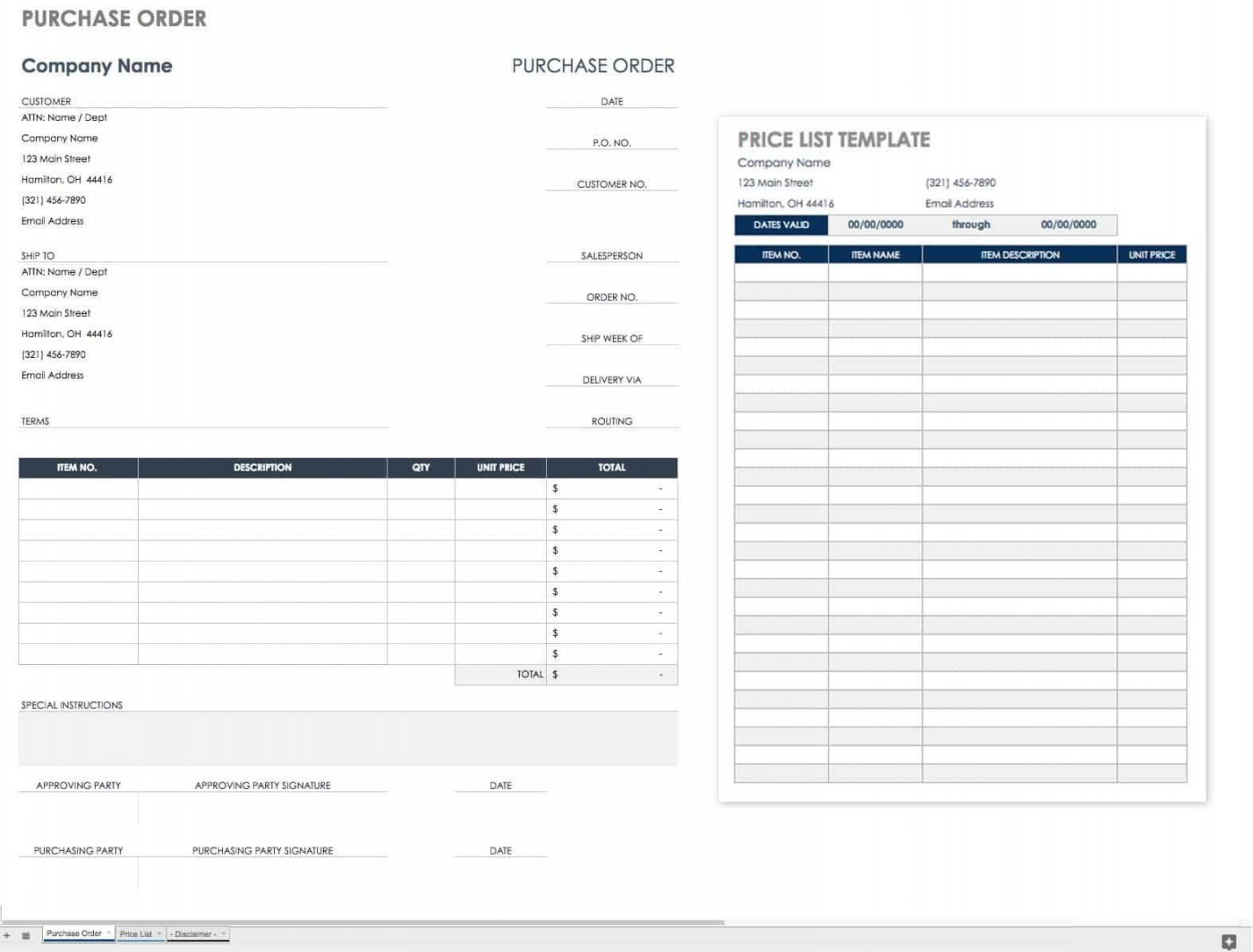 002 Wonderful Purchase Order Excel Template Design  Vba Download Free1400