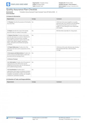002 Wonderful Quality Management Plan Template Design  Sample Pdf Example In Construction Doc360