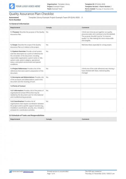 002 Wonderful Quality Management Plan Template Design  Sample Pdf Example In Construction Doc480