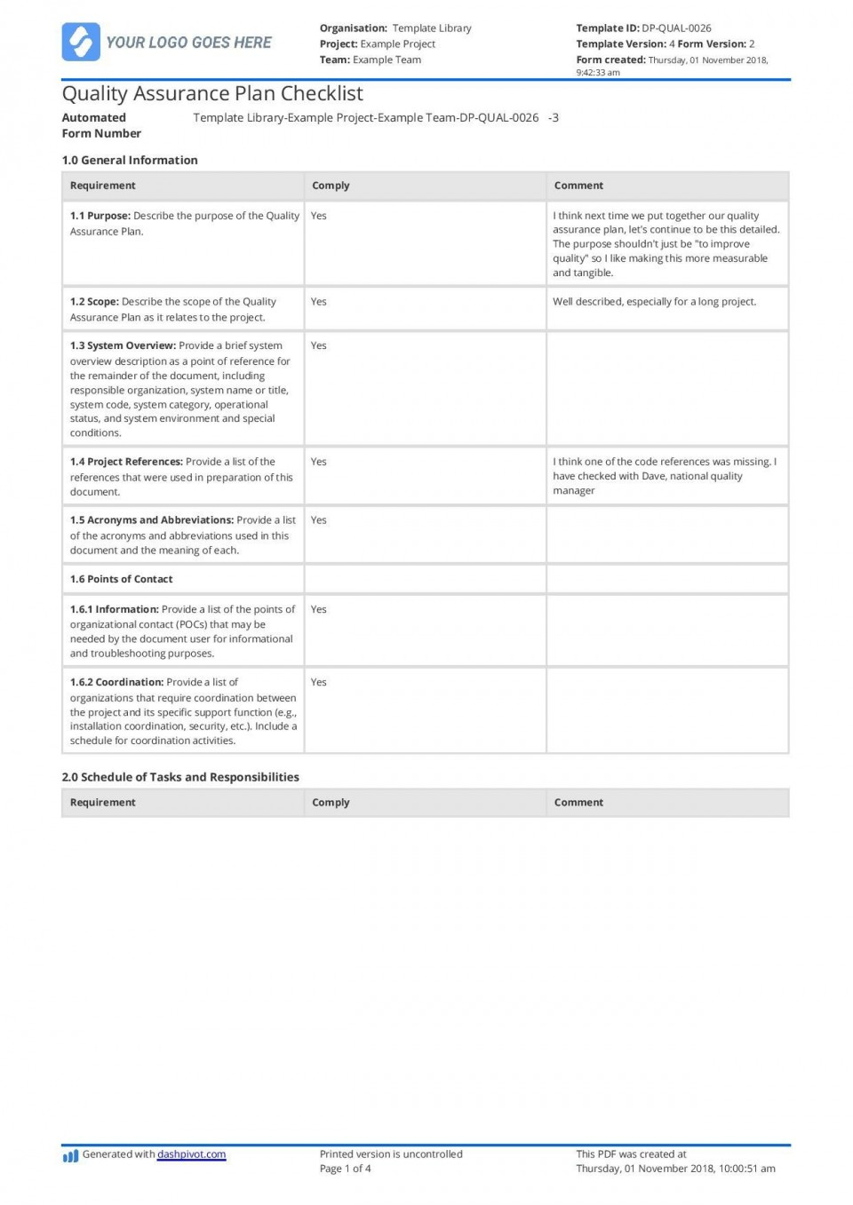 002 Wonderful Quality Management Plan Template Design  Sample Pdf Example In Construction Doc960