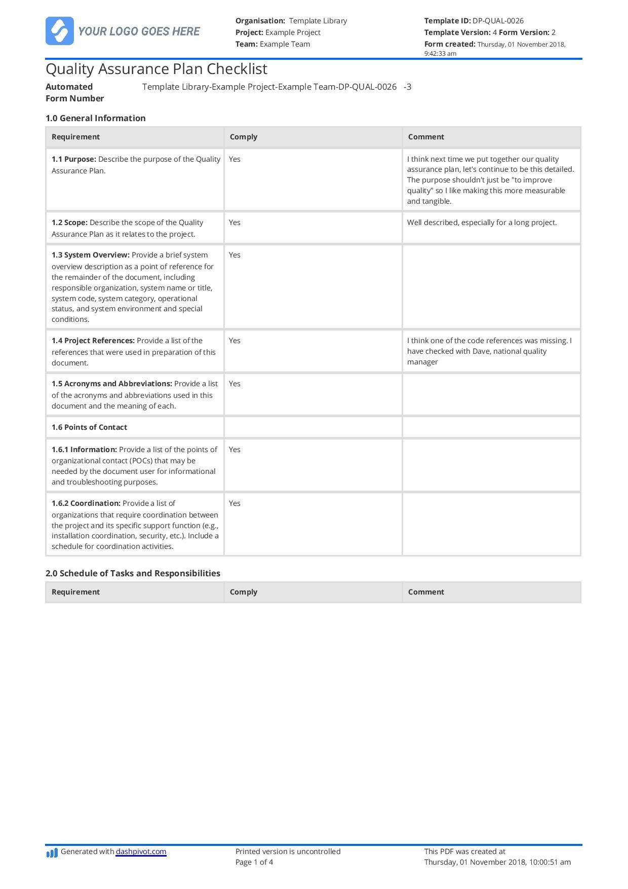 002 Wonderful Quality Management Plan Template Design  Templates Sample Pdf ConstructionFull