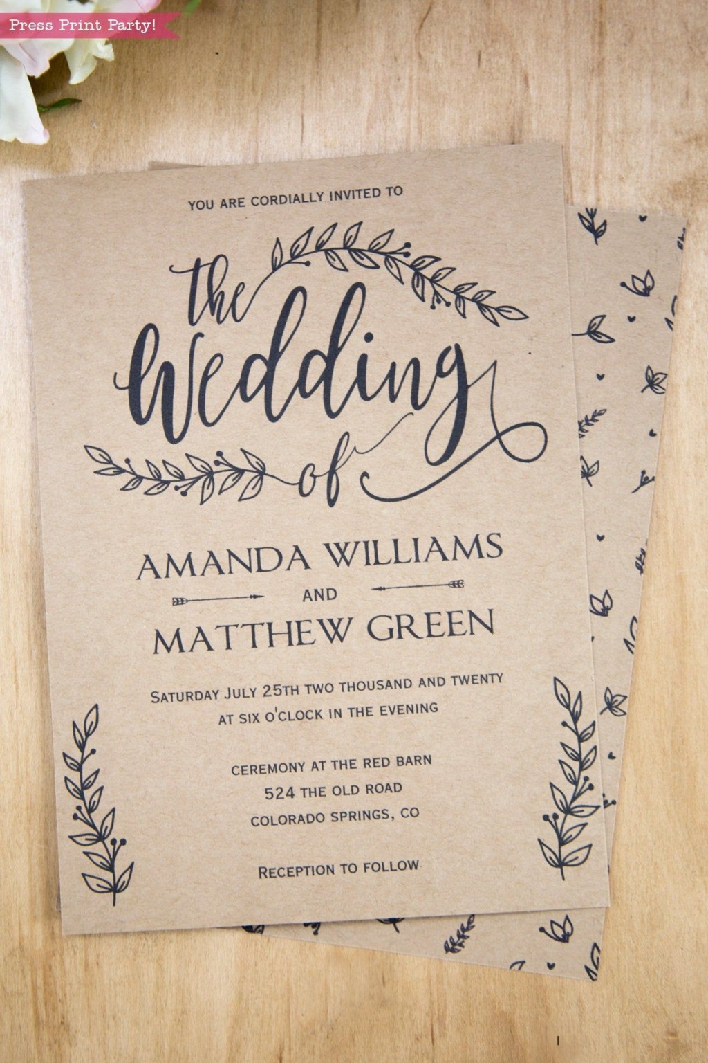002 Wonderful Rustic Wedding Invitation Template High Def  Templates Free For Word Maker PhotoshopLarge