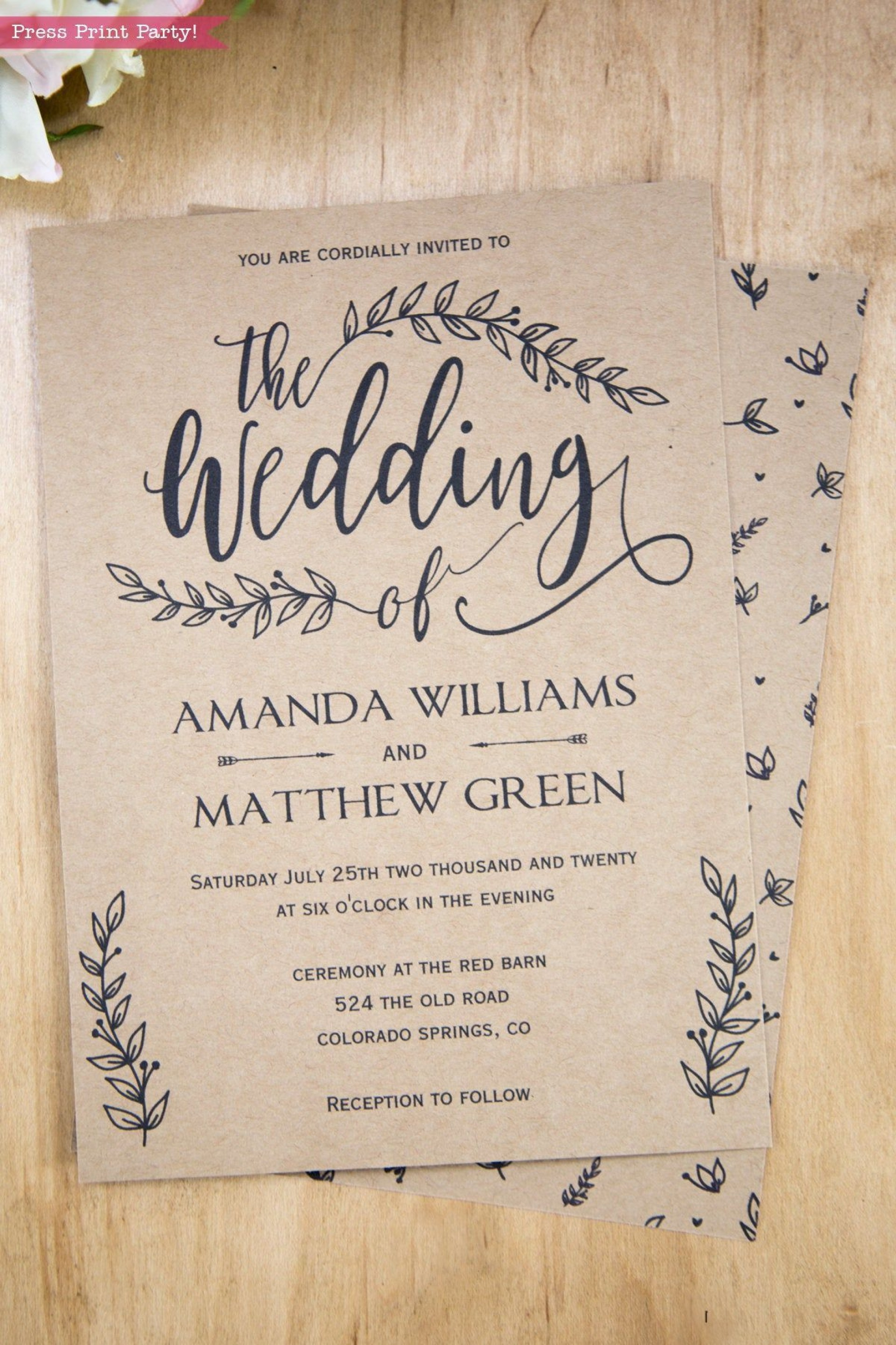 002 Wonderful Rustic Wedding Invitation Template High Def  Templates Free For Word Maker Photoshop1920