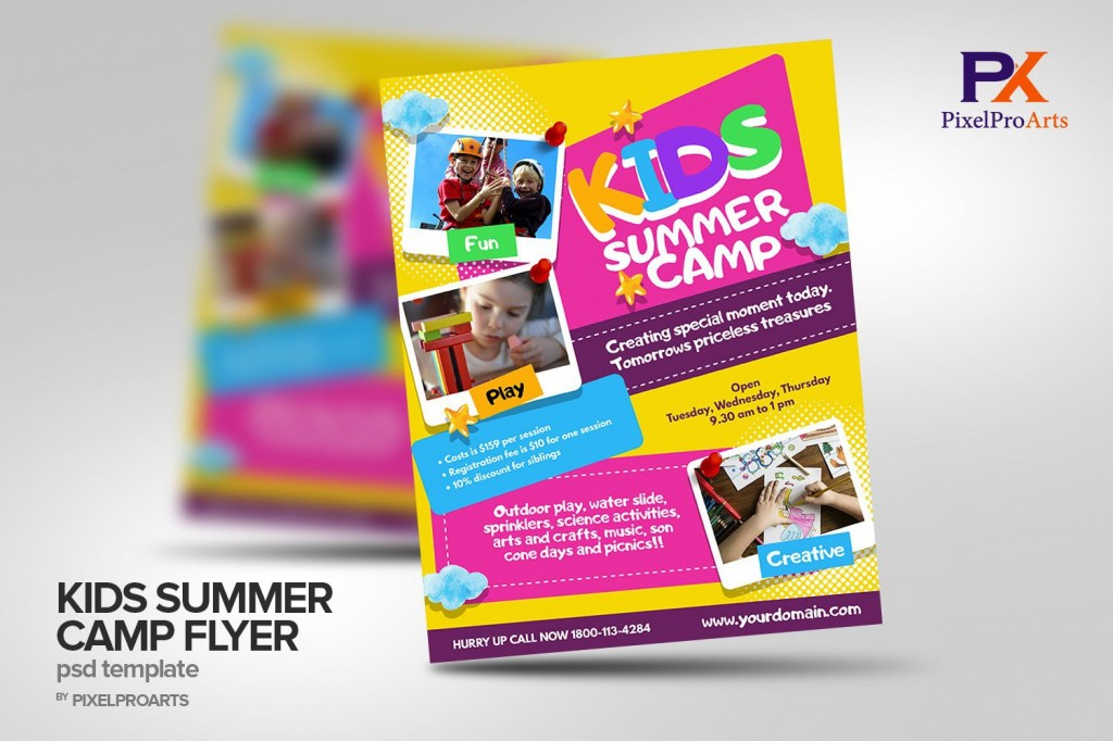 002 Wonderful Summer Camp Flyer Template Image  Day Microsoft Word BackgroundLarge