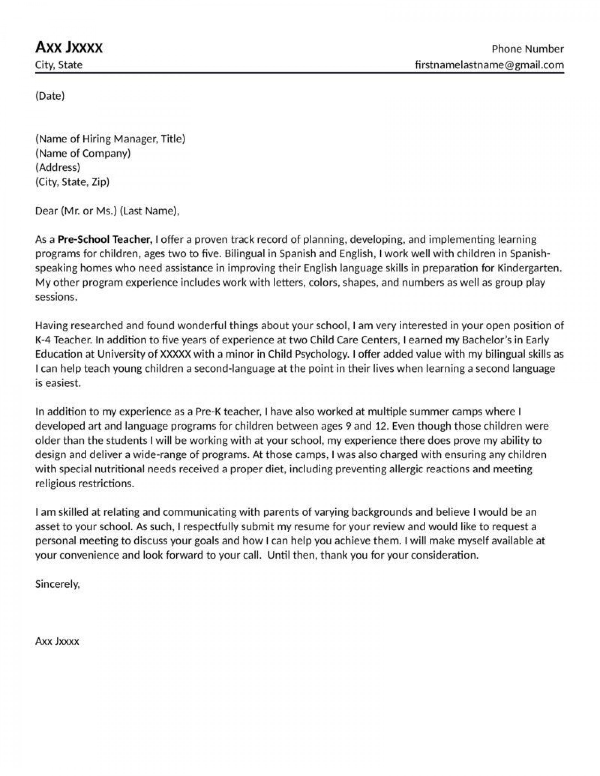 002 Wonderful Teacher Cover Letter Template Highest Clarity  Teaching Job1920