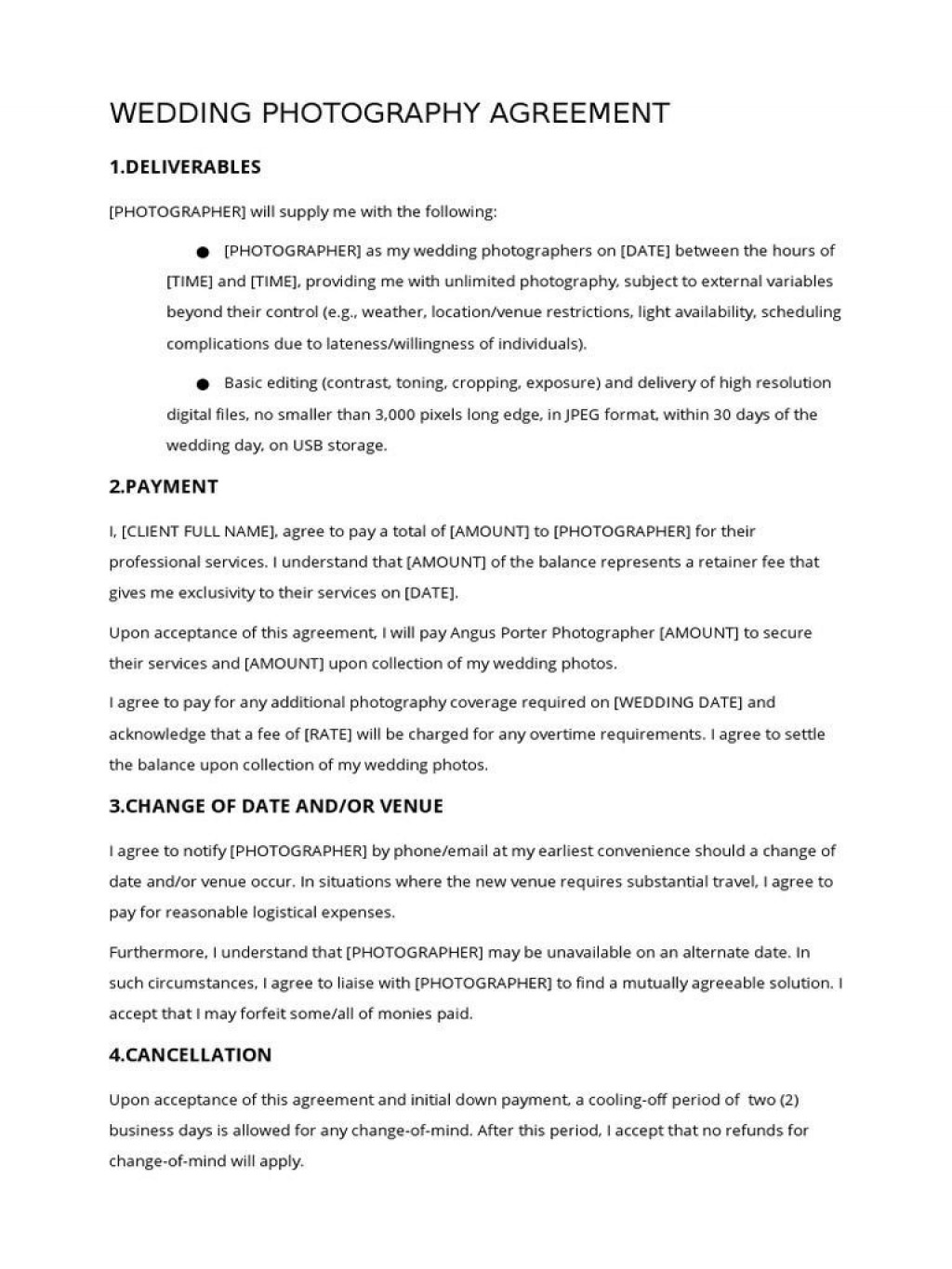 002 Wonderful Wedding Photography Contract Template Pdf Example Large