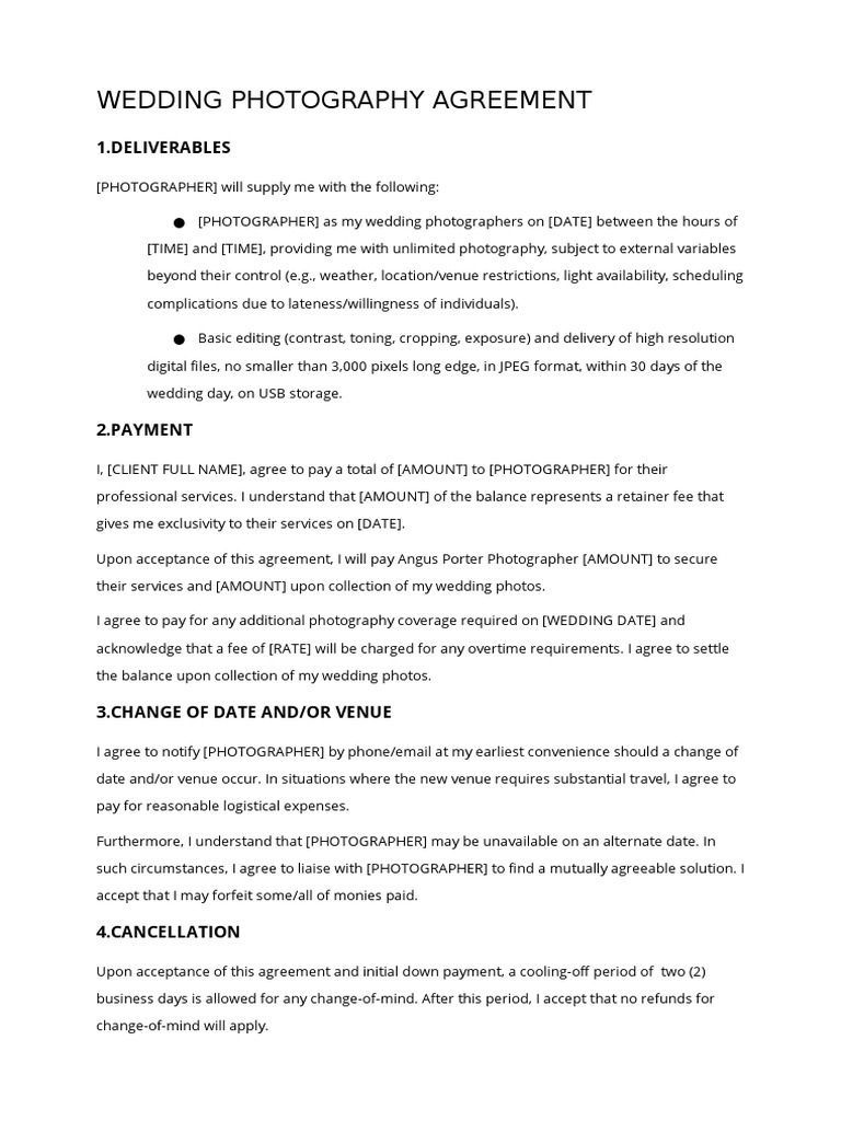 002 Wonderful Wedding Photography Contract Template Pdf Example Full