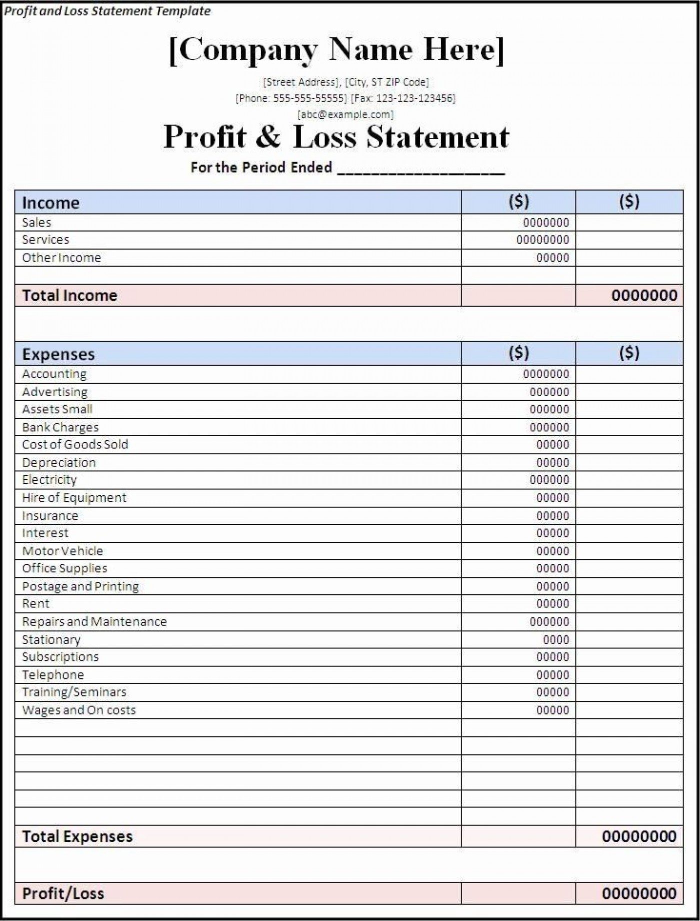 002 Wondrou Basic Profit And Los Template Image  Free Simple Form Statement Excel For Self Employed1400