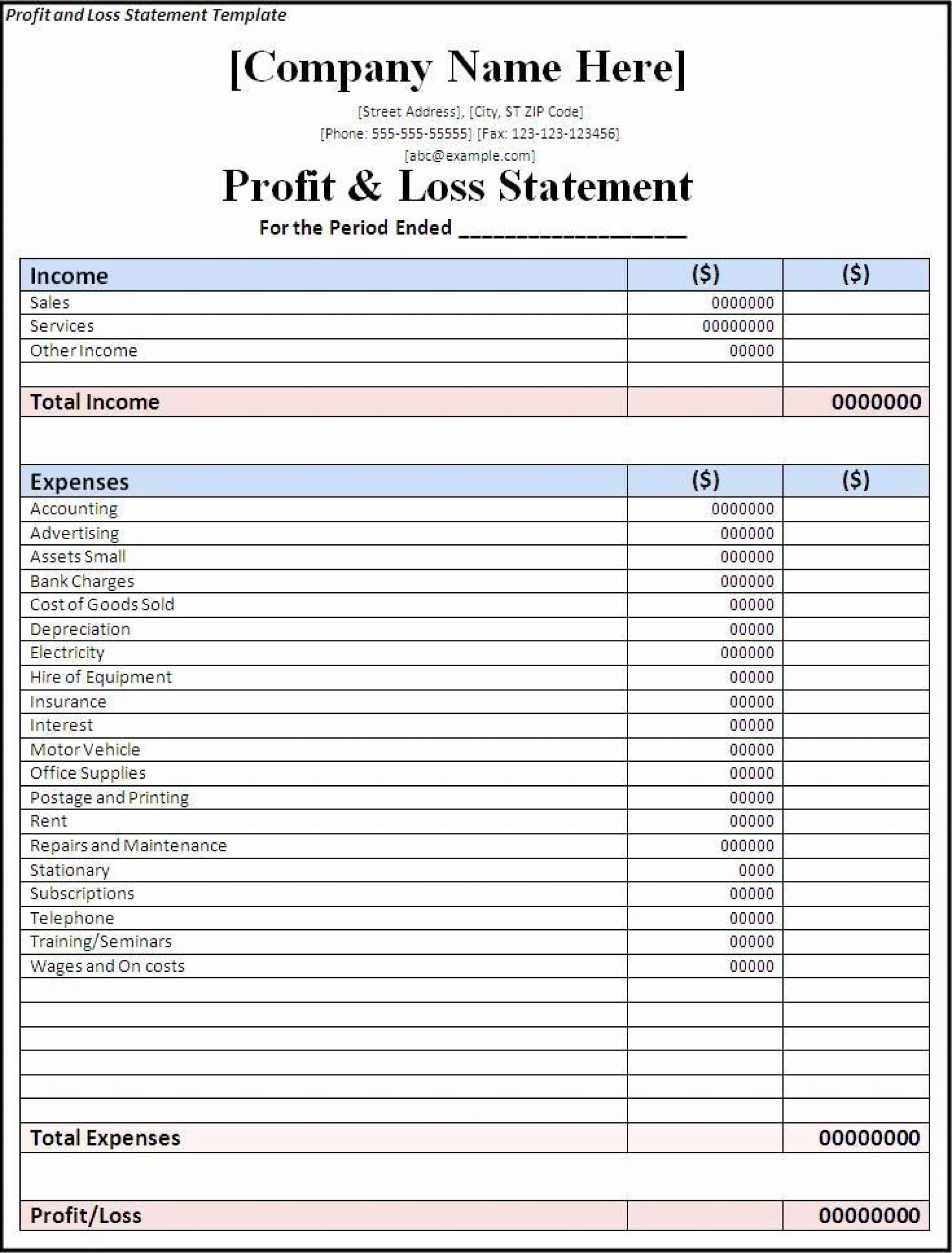 002 Wondrou Basic Profit And Los Template Image  Simple For Self Employed Excel1920