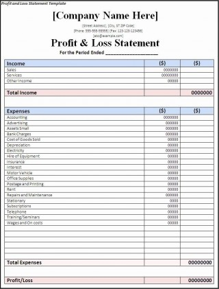 002 Wondrou Basic Profit And Los Template Image  Free Simple Form Statement Excel For Self Employed320