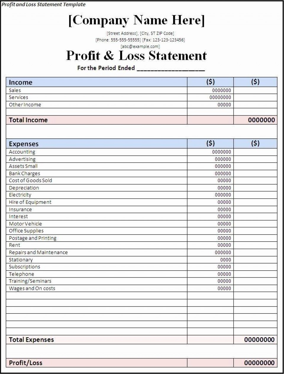 002 Wondrou Basic Profit And Los Template Image  Free Simple Form Statement Excel For Self Employed960