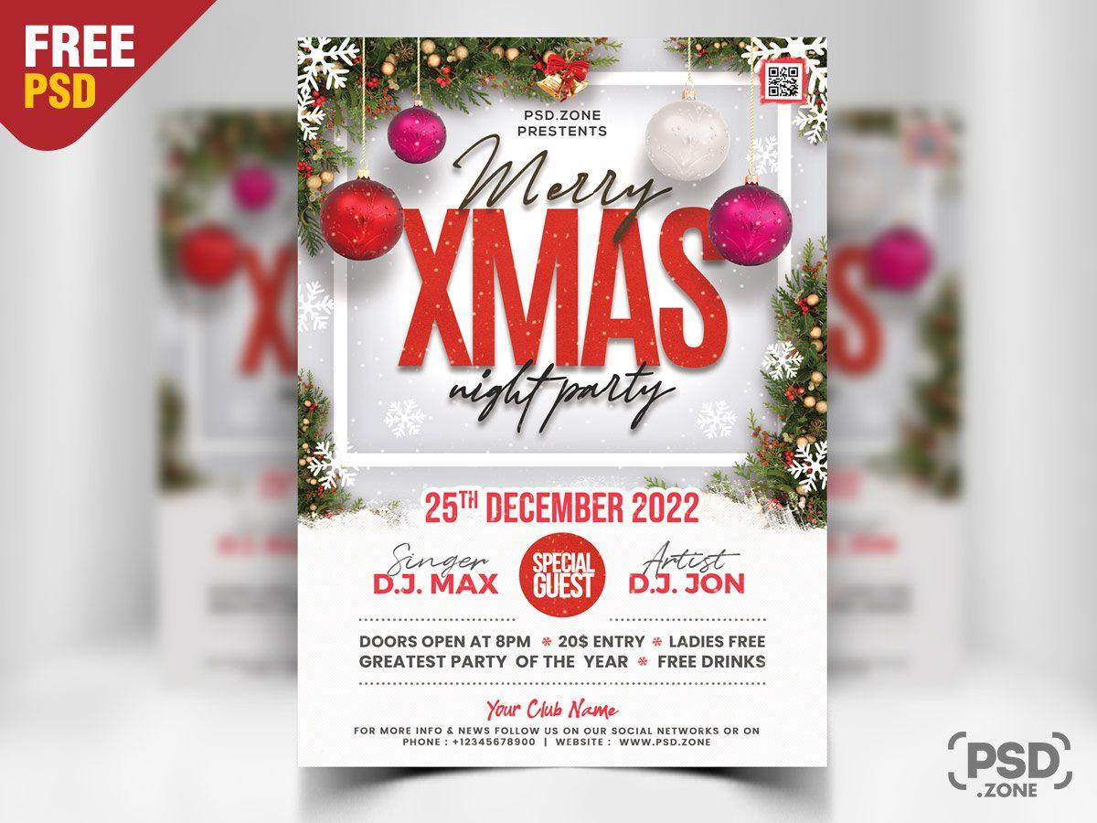 002 Wondrou Christma Party Flyer Template Free Idea  Company Invitation Printable WordFull