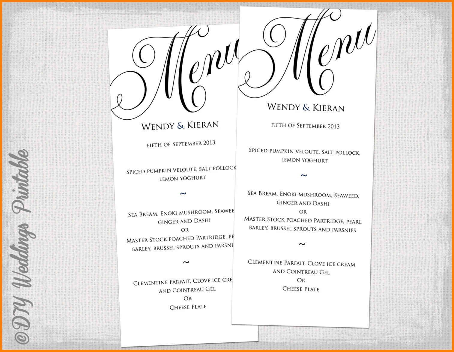 002 Wondrou Dinner Party Menu Template Picture  Word Elegant Free Google DocFull