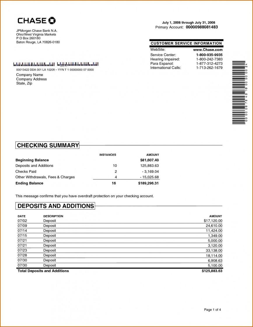 002 Wondrou Fake Chase Bank Statement Template Highest Clarity  Free Create