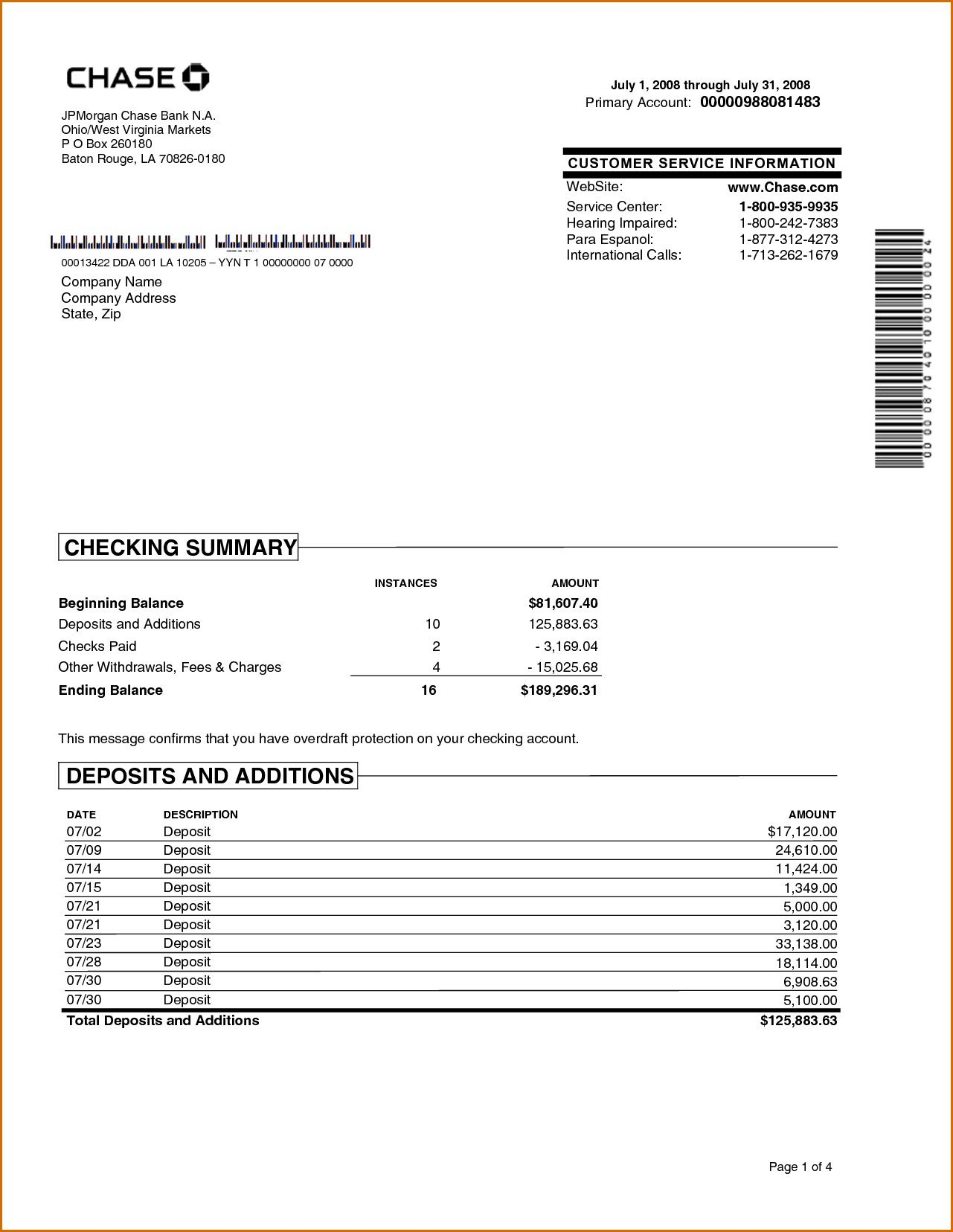 002 Wondrou Fake Chase Bank Statement Template Highest Clarity  Free CreateFull