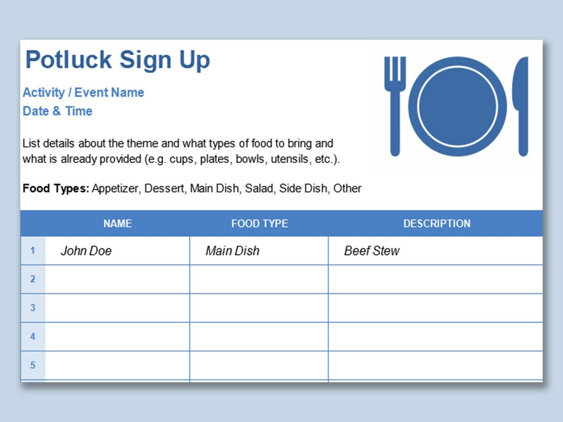 002 Wondrou Free Sign Up Sheet Template Highest Quality  Printable Potluck Word Blank Google Doc1920