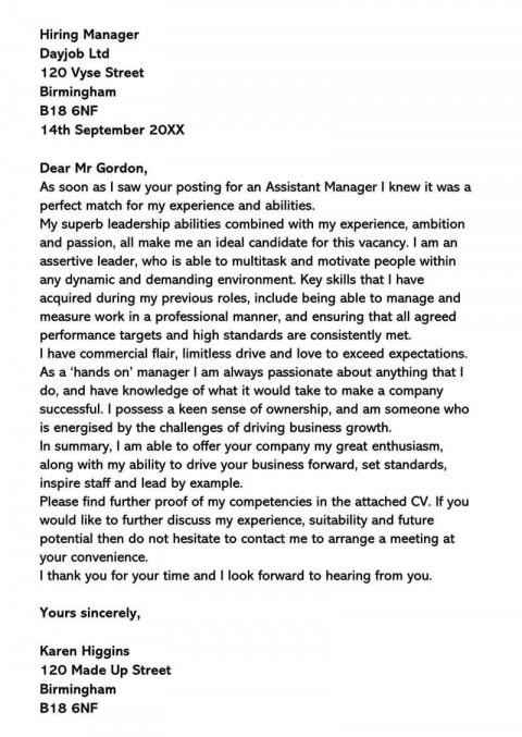 002 Wondrou General Manager Cover Letter Template Inspiration  Hotel480