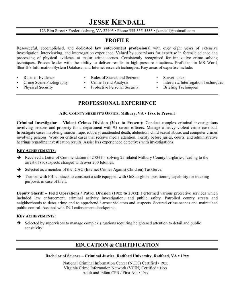 002 Wondrou Law Enforcement Resume Template Highest Clarity  Federal PromotionFull