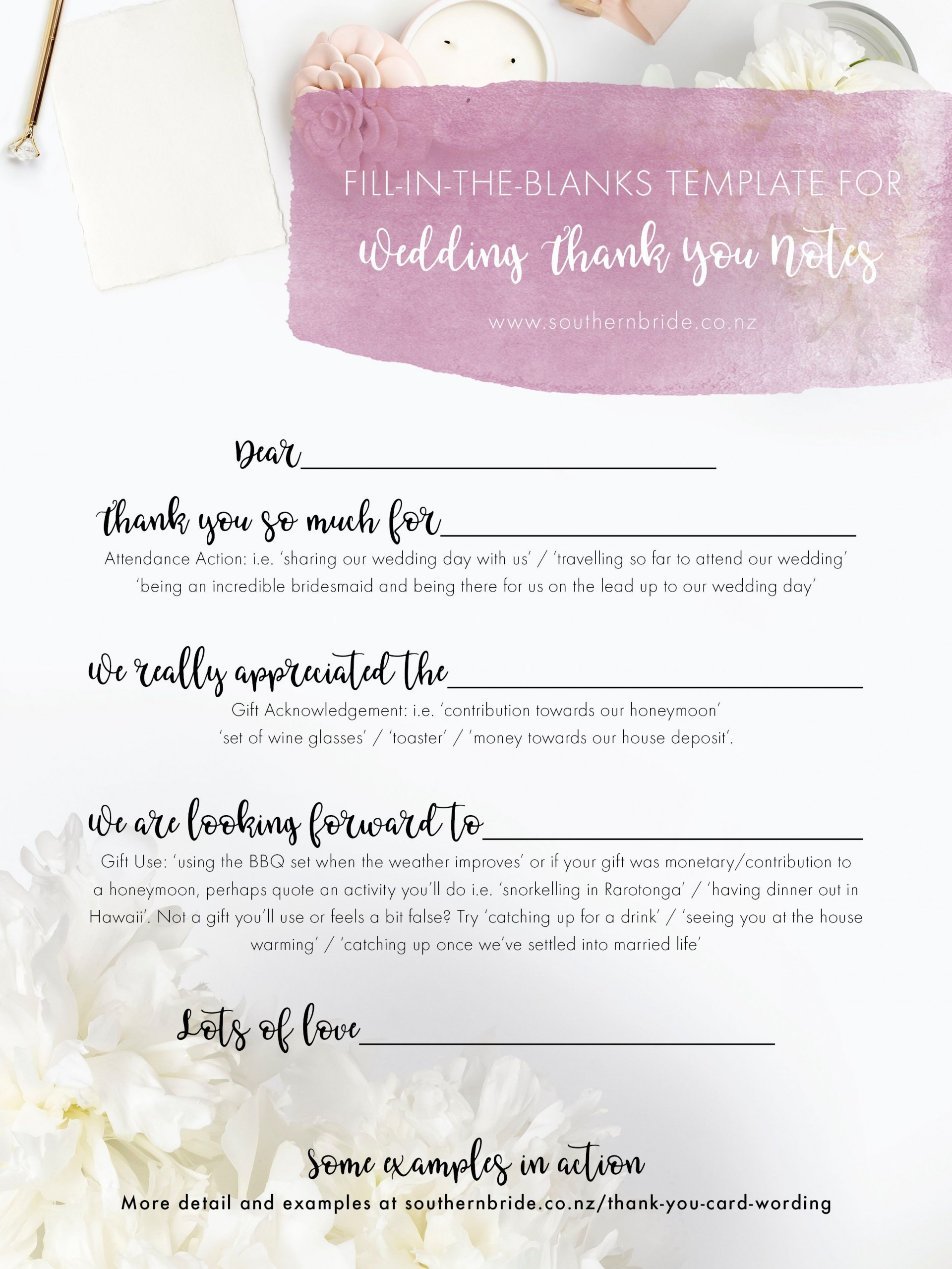 002 Wondrou Thank You Note Template Wedding Money Sample  Card Example For Cash Gift1920