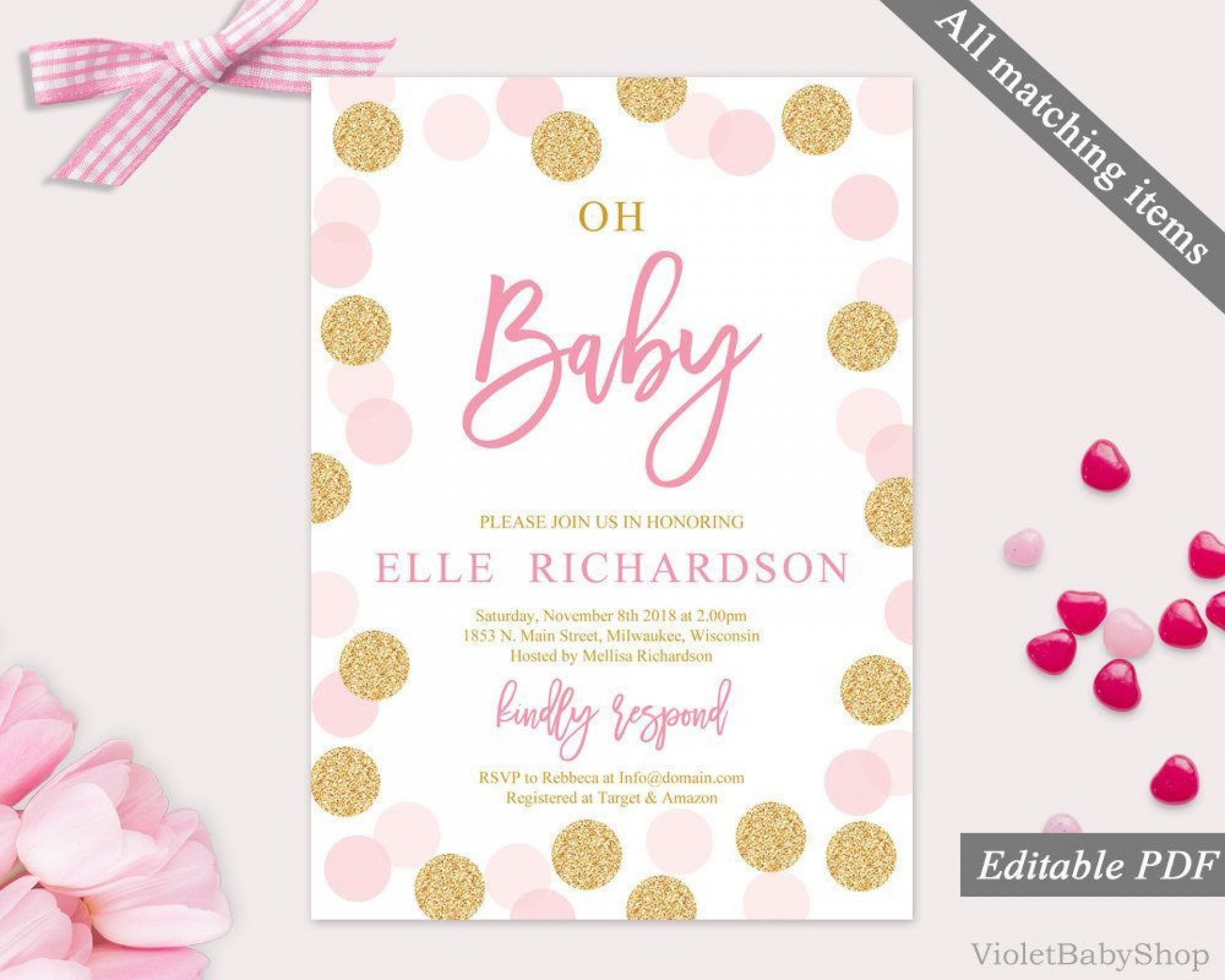 003 Amazing Baby Shower Template Girl Concept  Nautical Invitation Free For Word1920