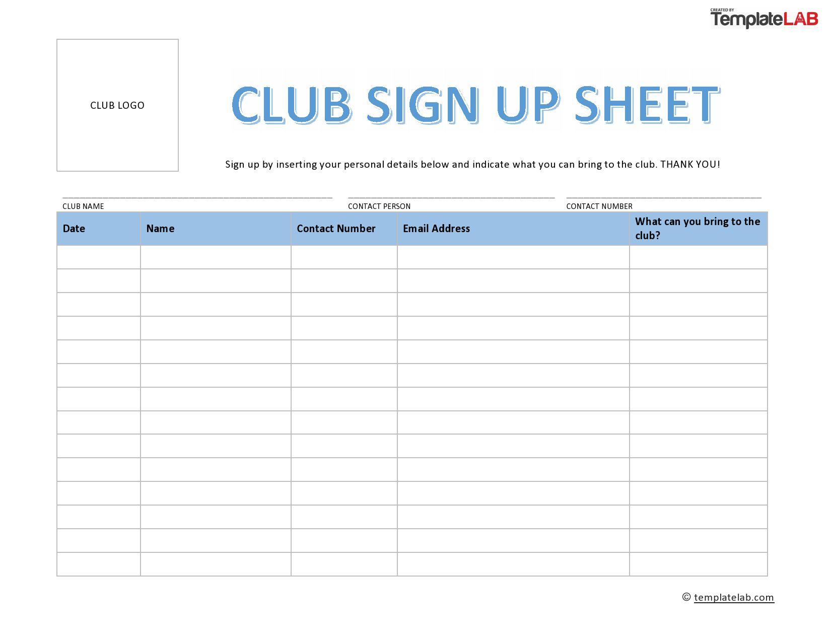 003 Amazing Printable Volunteer Sign Up Sheet Template Sample Full