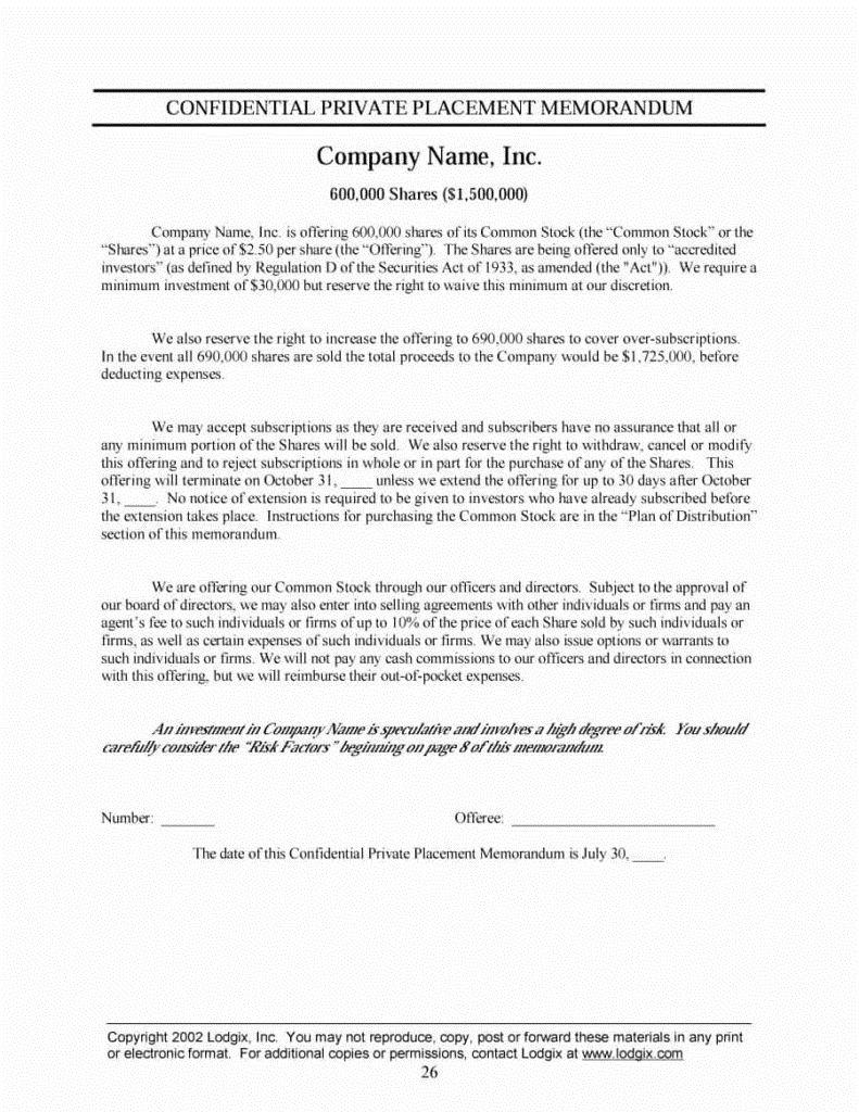 003 Amazing Private Placement Memorandum Template Doc Sample Full