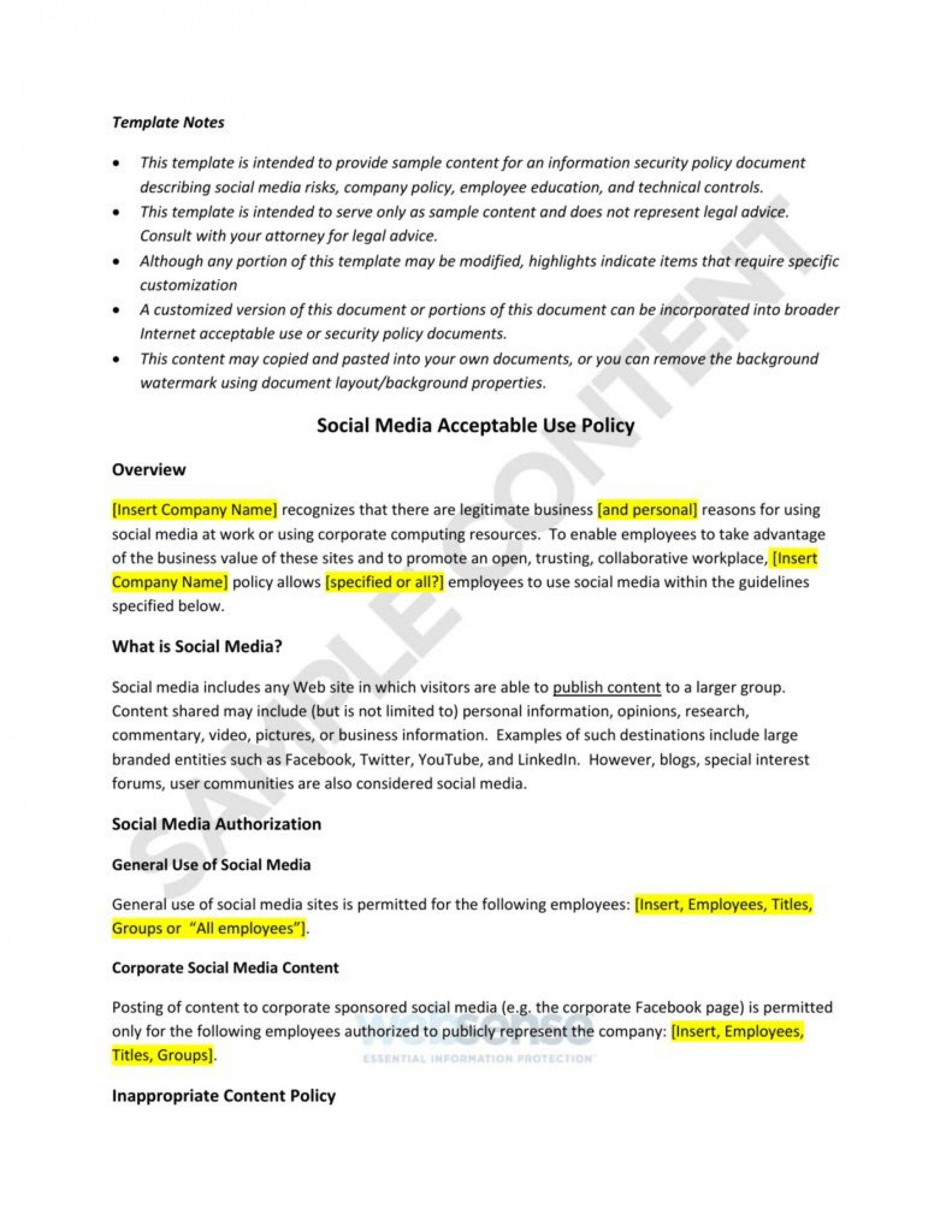 003 Amazing Social Media Policie Template High Definition  Policy For Busines Example Nonprofit Australia Small1920