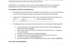 003 Amazing Wedding Planner Contract Template Picture  Word Planning Coordinator Free