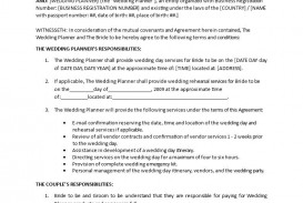 003 Amazing Wedding Planner Contract Template Picture  Uk Australia