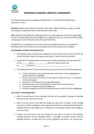 003 Amazing Wedding Planner Contract Template Picture  Uk Australia320