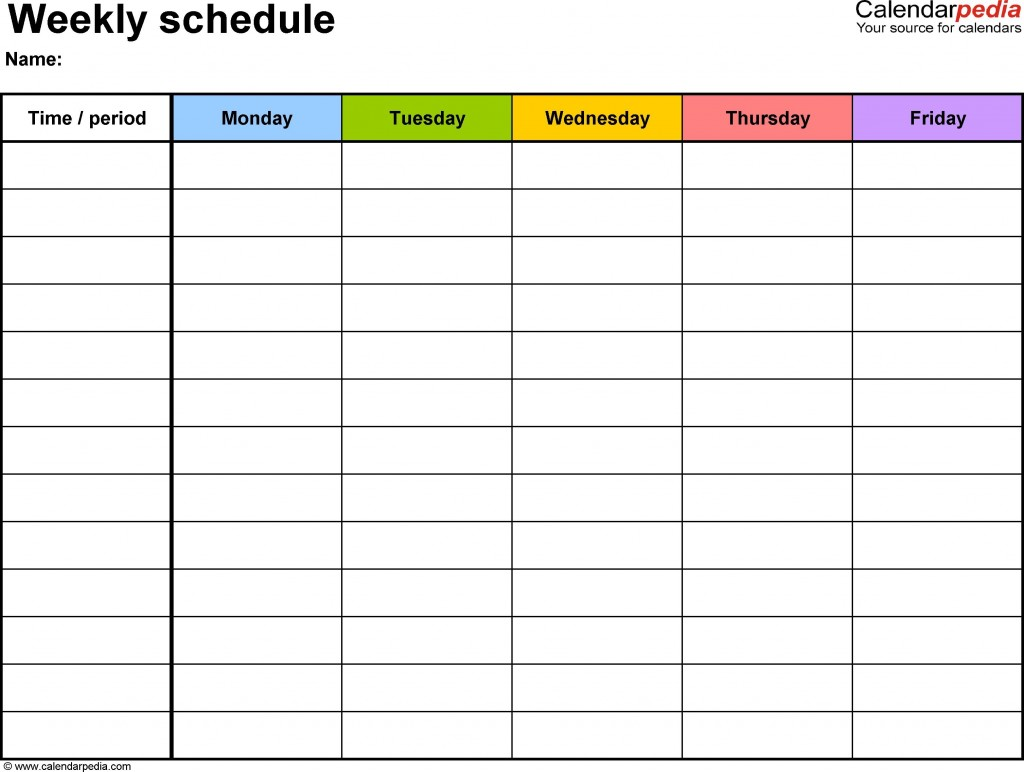 003 Amazing Weekly Schedule Template Pdf Photo  With Time Study WorkLarge