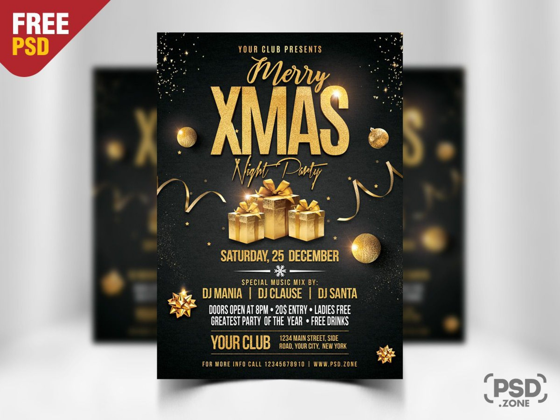 003 Archaicawful Christma Party Flyer Template Free Photo  Company Invitation Printable Word1920